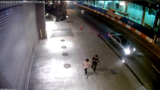 A screengrab from a surveillance video Metro Police released from a fatal shooting in downtown Nashville.