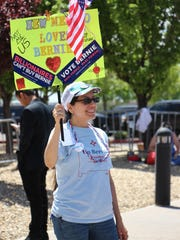 An attendee of the Santa Fe rally for Bernie Sanders