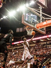 Jonathan Isaac attempts a shot during FSU's win over Louisville on Jan. 21, 2017