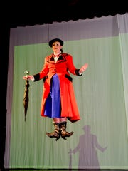 """Mary Poppins (Allison Fernberg) and Bert (J.T. Schaeffer) in """"Mary Poppins: The Broadway Musical,"""" which opens at 7:30 p.m. tonight and 2 and 7:30 p.m. Saturday. The musical runs Thursdays, Fridays and Saturdays though July 21. There are 2 p.m. Saturday matinees each weekend."""