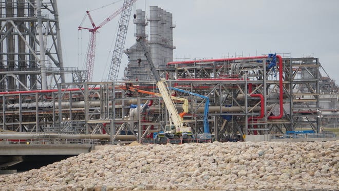 Work continues at the Cheniere Energy's Corpus Christi Liquefaction Plant on May 14, 2018.