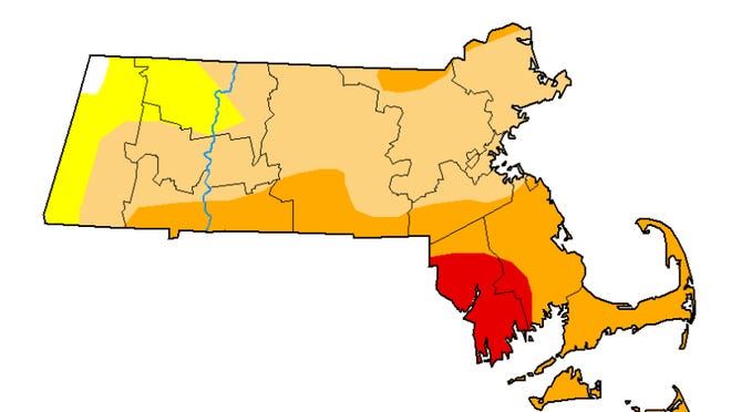 "This map of Massachusetts, released Thursday, Sept. 17, shows much of Bristol County and parts of Plymouth County shaded red for ""extreme drought"" conditions. Orange is ""severe drought,"" tan ""moderate drought"" and yellow ""abnormally dry."""