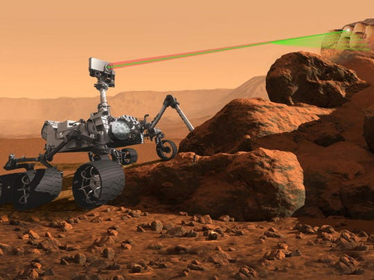 An artist's rendering of the SuperCam instrument aboard NASA's next generation Mars rover scheduled to visit the Red Planet in 2020.