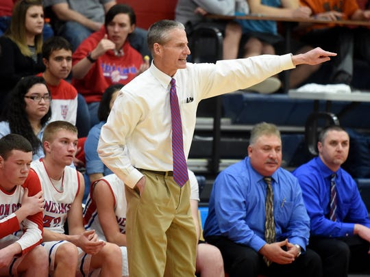 Union City Coach Bruce Davison reacts Wednesday, Feb. 22, 2017, during a basketball game at Union City Community High School.