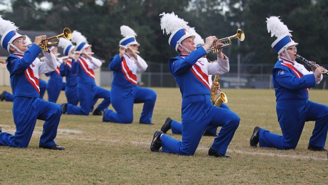 High school bands from surrounding counties performed Saturday at the Florida Bandmasters Marching Music Performance Assessment. Here, members of Taylor County High's perform.