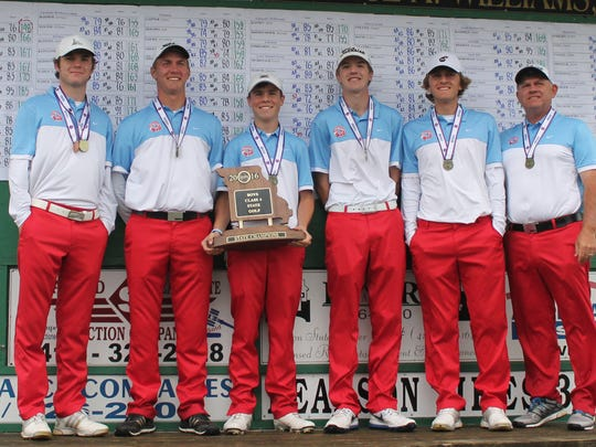 Glendale High School's boys golf team won the 2016 state championship tournament May 16-17 at Silo Ridge in Bolivar. From left: Sam Holmes, Alex Locke, Chase Gafner, Graham Sherard, Christopher Obert and coach Chris Obert.