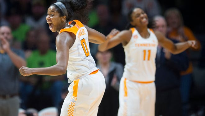 Tennessee's Jordan Reynolds, left, and Diamond DeShields hope to play parts in an NCAA tournament run like last season.