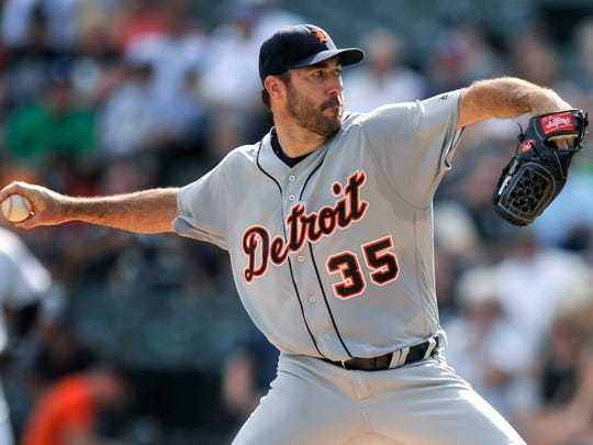Tigers starter Justin Verlander throws during the first