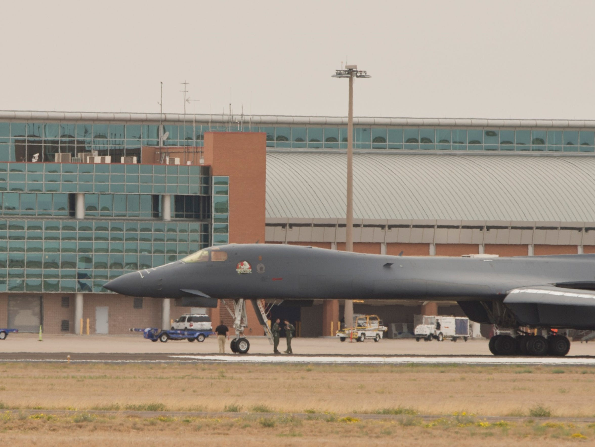 A Dyess Air Force Base  B-1B Lancer had to make an emergency landing at Midland International Airport, parking on the main north/south runway. None of the crew was injured.
