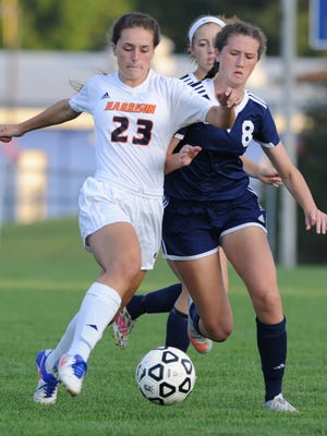 Raider junior Olivia Geswein brings the ball down field Wednesday night as the Harrison hosted Central Catholic.