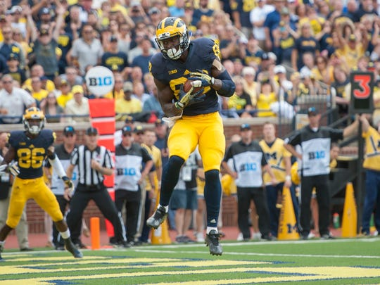 Michigan wide receiver Amara Darboh makes a touchdown reception in the second quarter.