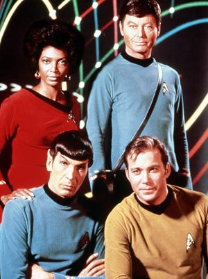 "Part of the cast of the original ""Star Trek"" series is shown."