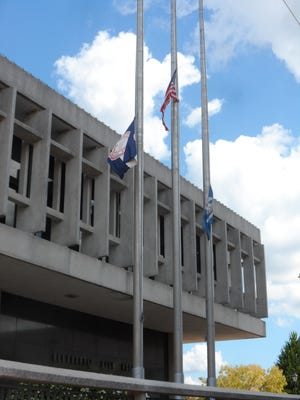 Flags are flying at half-staff outside Alexandria City Hall in honor of former Mayor Ned Randolph, who died Tuesday.