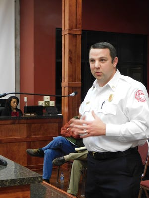 Fire Protection District 3 assistant fire chief Matthew Rabalais address a St. Landry Parish Council meeting in January about the 10-mill property tax proposition.