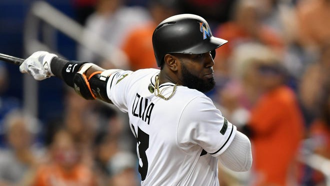 Marcell Ozuna, 26, a 2016 All-Star, is on pace for a big rise in average, homers and RBI this year.