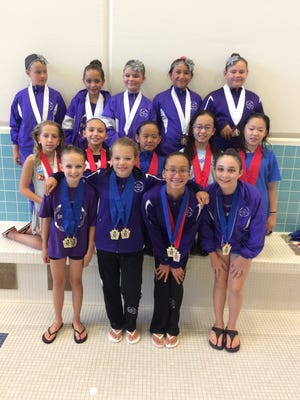The YWCA York Synchro-ettes 12-and-under team recently excelled during the Keystone State Games in York. Pictured are: front row, from left, York swimmers Emma Klimchock, BriAnna Doll, Alexa Alhadeff and Maci Newcomer; middle row, from left, Cumberland Valley swimmers Ava Salamone, Caroline McMillen, Serena Dong, Victoria Fan and Anne Gu; and back row, from left, York swimmers Sarah Giesselbach, Renee Salvo, Sadie Kraft, Keira Alhadeff and Kayleigh Veach. Klimchock, Doll, Alexa Alhadeff and Newcomer won the team 12-and-under gold, while Keira Alhadeff, Giesselbach, Kraft, Renee Salvo and Veach took the bronze. Doll and Klimchock won the duet gold. In solo action, Alexa Alhadeff was second, Newcomer was third and Renee Salvo was fourth. In the trio class, York's Rhiannon Gurnee, Irene Salvo and Sabrina Trayer won gold, while Keira Alhadeff, Renee Salvo and Veach won bronze.