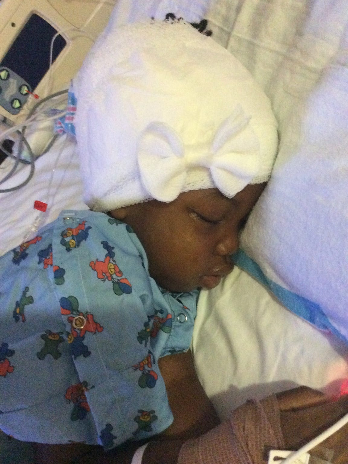 Chika, 5, after surgery at Mott Children's Hospital in June 2015. Dr. Hugh Garton found malignant tissue wrapped throughout healthy tissue.