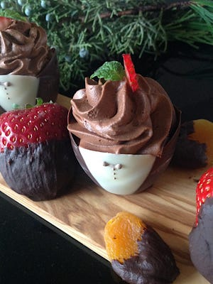 Chocolate Cinnamon Mousse Filled Chocolate Cups will be snatched up from the dessert board.