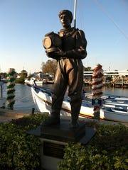 A statue commemorating the Greek sponge divers in Tarpon Springs.