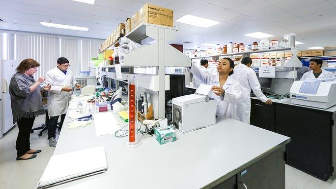 Dr. Karen Briski supervises students in her lab in Bienville Hall.