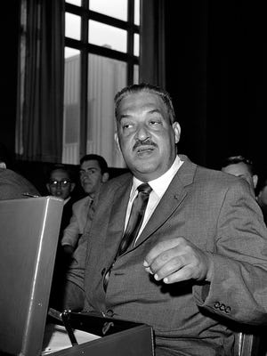 In this Aug. 8, 1962, file photo, Thurgood Marshall appears before a Senate Judiciary Subcommittee in Washington for a third hearing on his nomination as a judge of the U.S. Second Circuit Court of Appeals. Marshall became the first African-American Supreme Court judge in 1967.