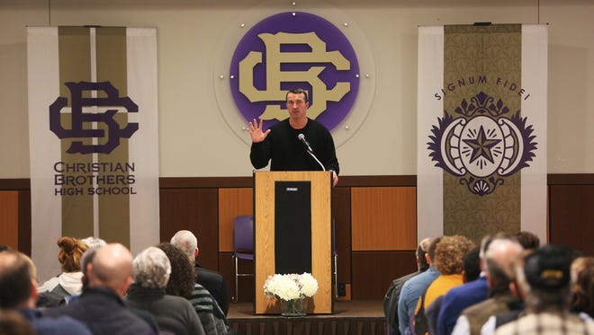 January 23, 2018 - Former NBA player Chris Herren shares his personal experiences about addiction and recovery to an audience at Christian Brothers High School on Wednesday night.