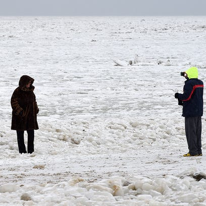 Ice coming out of the Delaware Bay has clogged the