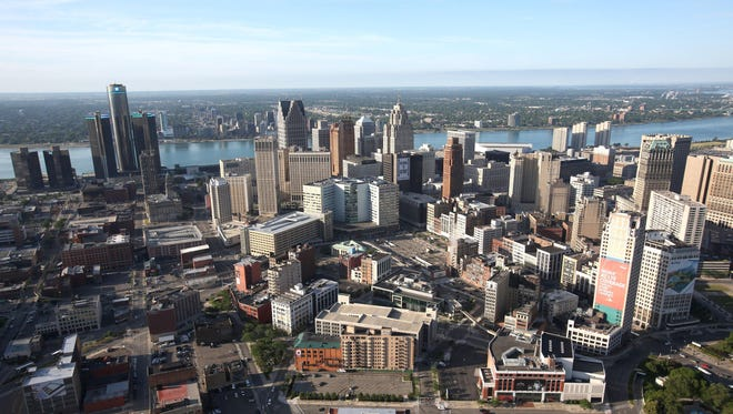 Aerial view of downtown Detroit, The Renaissance Center and the Detroit River on June 14, 2012.