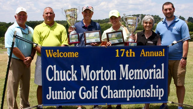 Evan Griffith (third from left) and Josie Roberson (fourth from left) captured the overall titles at the 17th annual Chuch Morton Memorial Junior Stroke Play Championship Friday at Big Creek Golf and Country Club in Mountain Home. Also pictured are: (from left) Todd Dunnaway, Big Creek PGA Professional; Mark Morton; Beverly Morton and Derek Morton.