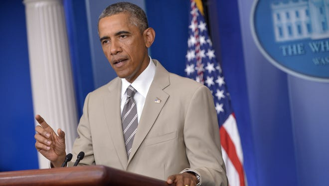 President Obama speaks in the White House Briefing Room on Aug. 28.