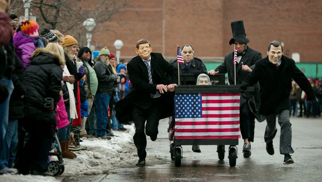 The Bed Presidents participate in the Blue Water Young Professionals Bed Races during Chilly Fest in downtown Port Huron.
