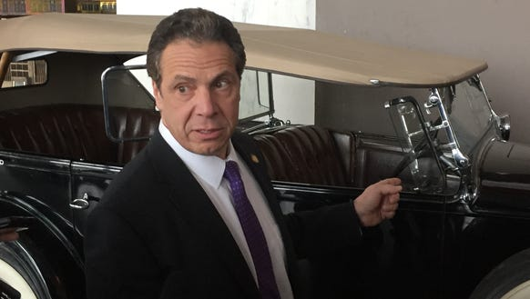 Gov. Andrew Cuomo talks Tuesday, March 28, 2017, about