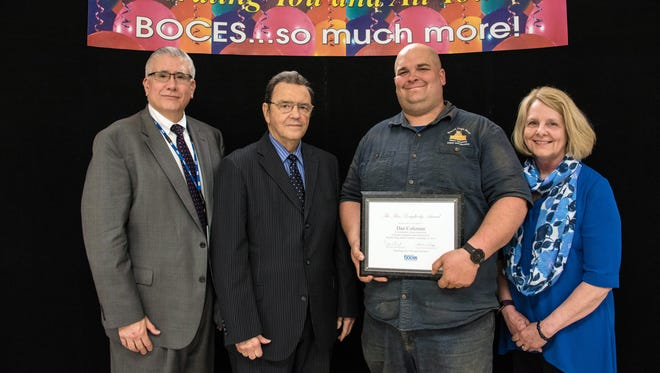 From left, Broome-Tioga BOCES District Superintendent Allen Buyck, Ronald Dougherty, Dan Coleman and BOCES Board of Education President Sandra Ruffo. Coleman was presented the 2017 Ron Dougherty Award.