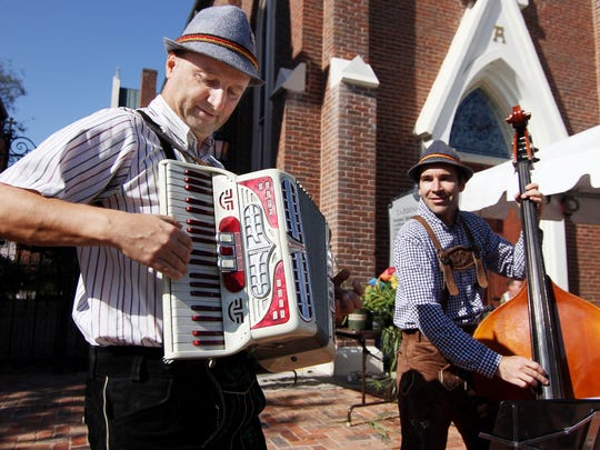 Nermin Begovich and Sam Frazee play Polka music for the crowd at Oktoberfest in Nashville, TN on Sat. Oct. 10, 2015.