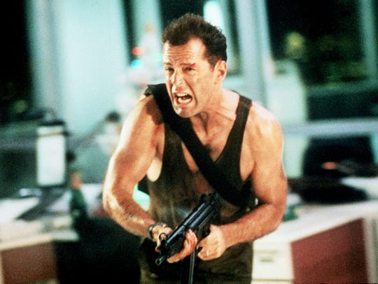 Bruce Willis in a scene from the 1988 action thriller