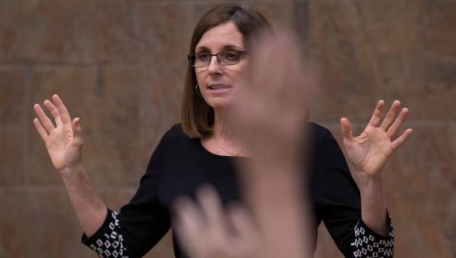 U.S. Rep. Martha McSally answers a question during a town-hall meeting on Feb. 23, 2017.