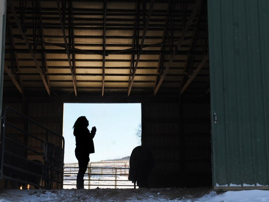Lacy Delp, daughter of Anne Bathon, stands inside of her Codorus Township barn on Friday, Jan. 3, 2014. Bathon was killed Tuesday when she was working on the farm and hay bales fell on her. Lacy, 29, operated the farm with her mom and was the person who discovered her.