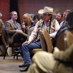 Audience members look on at a tribal marijuana conference for tribal governments considering whether to legalize marijuana for medicinal, agricultural, or recreational use, Friday, Feb. 27, 2015, in Tulalip, Wash. Representatives of 75 American Indian tribes from 35 states gathered to discuss what might be the next big financial boon on reservations across the country: marijuana. Tribes have been exploring the idea of getting into the pot business since the Obama administration announced in December it wouldn't stand in their way. (AP Photo/Elaine Thompson)