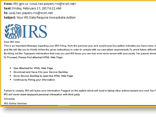 Fake IRS email