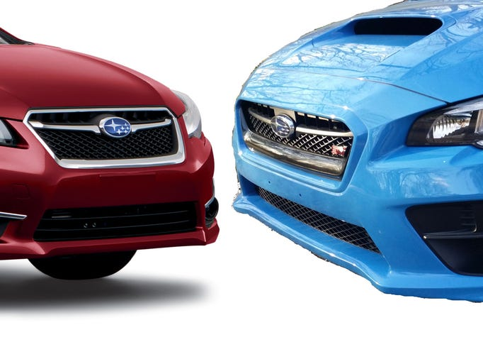 The 2016 Subaru WRX STI, right,  is the unlikely, evil