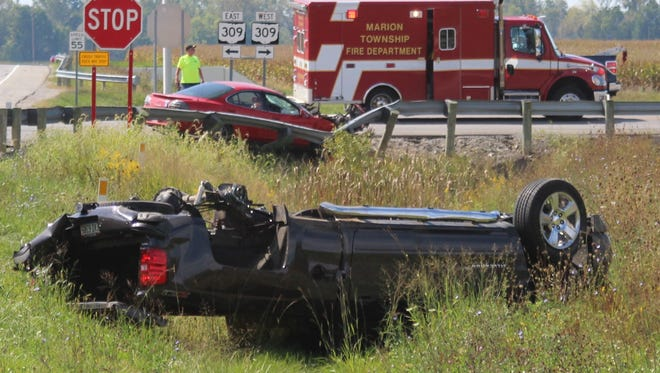 The driver of a 1998 Chevrolet Silverado pick-up truck walked away from this two-vehicle crash Friday. The crash happened just after noon at the junction of Ohio 309 and Marion-Williamsport Road. The driver of a 1999 Pontiac Grand Prix involved in the crash was transported to Marion General Hospital.