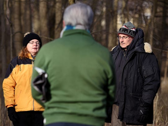 "Gerti Schoen, left, led a ""forest bath"" in Thielke Arboretum in Glen Rock on Sunday morning, April 8, 2018."