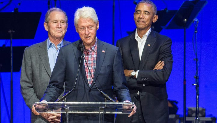 Bush and Obama get the giggles during Clinton speech