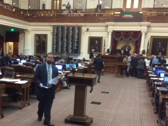 State Rep. Joe Moody, D-El Paso, prepares to talk about