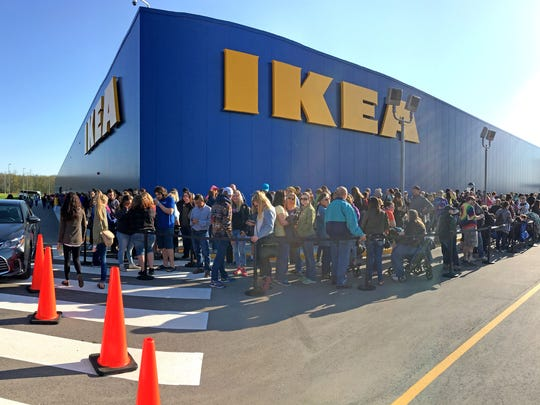 People line up to get in before the grand opening of the IKEA store in Oak Creek in May 2018.
