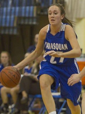Manasquan's Michaela Mabrey drives past Seneca's Erica Snow in 2012.