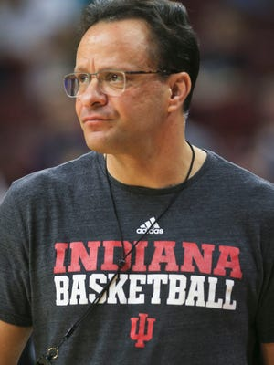 Indiana coach Tom Crean watches his team practice Thursday in preparation for the game against North Carolina at the Wells Fargo Center in Philadelphia.