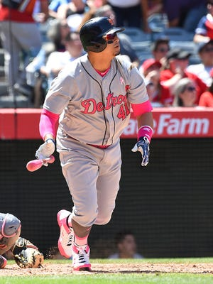 Victor Martinez of the Tigers doubles in the seventh inning against the Angels at Angel Stadium of Anaheim on May 14, 2017 in Anaheim, Calif.