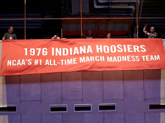 A banner to honor the 1976 IU Hoosiers was unveiled Tuesday.