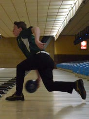 Pennfield sophomore James Ruoff bowls during the Division
